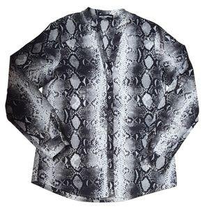 Karl Lagerfeld Printed Roll Tab Blouse